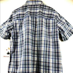 Marmot Shirts - Marmot Riggs Navy Plaid UPF 40 S/S Shirt